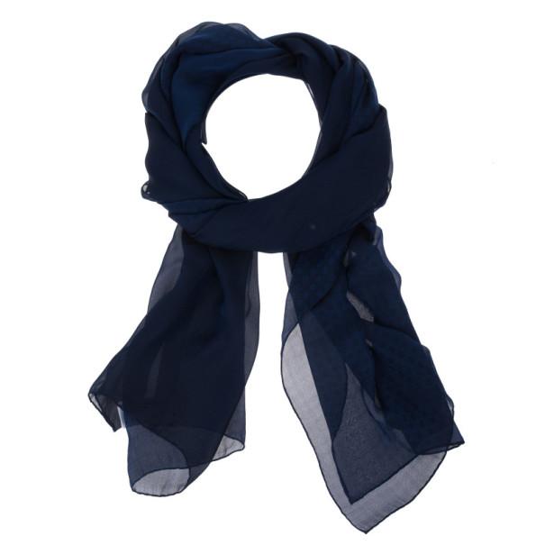 Dior Navy Blue Cannage Silk Scarf