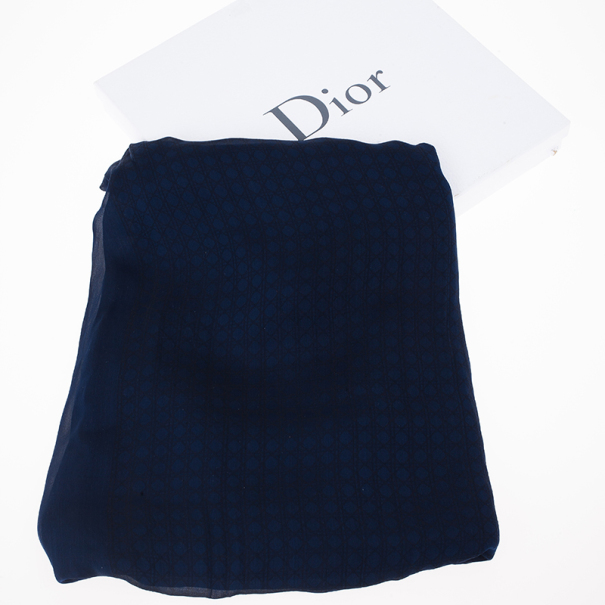 Dior Navy Blue Cannage Silk Scarf
