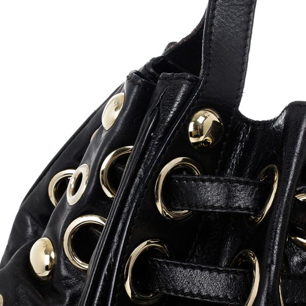 Jimmy Choo Black Leather Riki Shoulder Bag