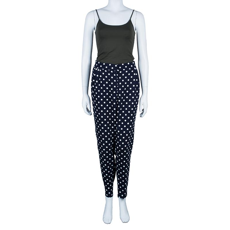 CH Carolina Herrera Navy Doted Trousers L
