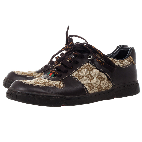 Gucci Guccissima Canvas and Leather Sneakers Size 42.5