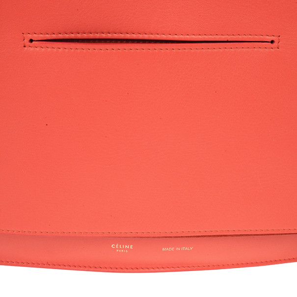 Celine Red Vermillon Foldover Clutch