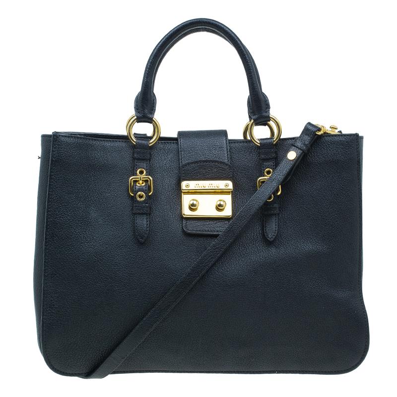 Miu Miu Black Textured Leather Large Madras Tote Bag