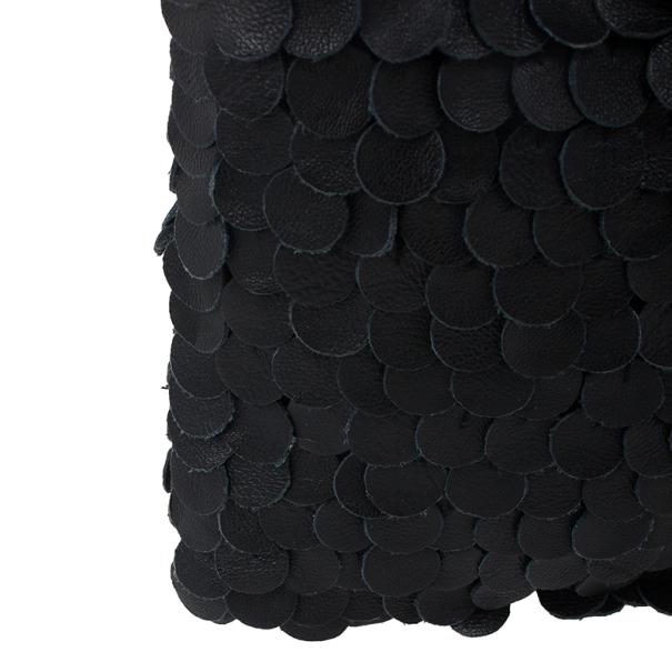 Valentino Black Leather Ruffles Clutch