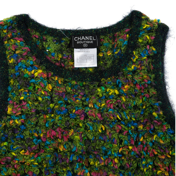 Chanel Multicolor Woven Sleeveless Top M