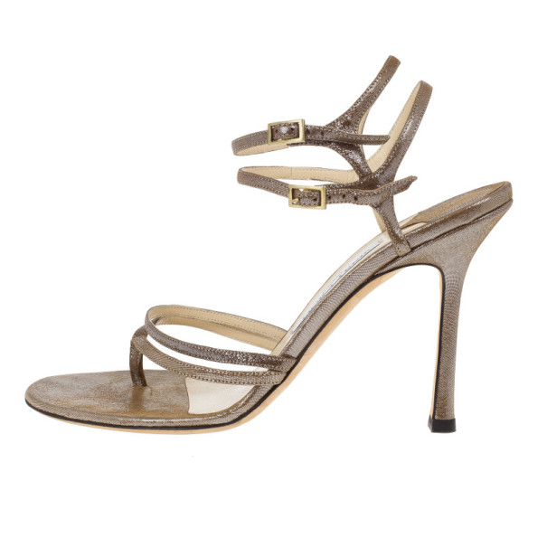 Jimmy Choo Bronze Metallic Thong Strappy Sandals Size 39.5