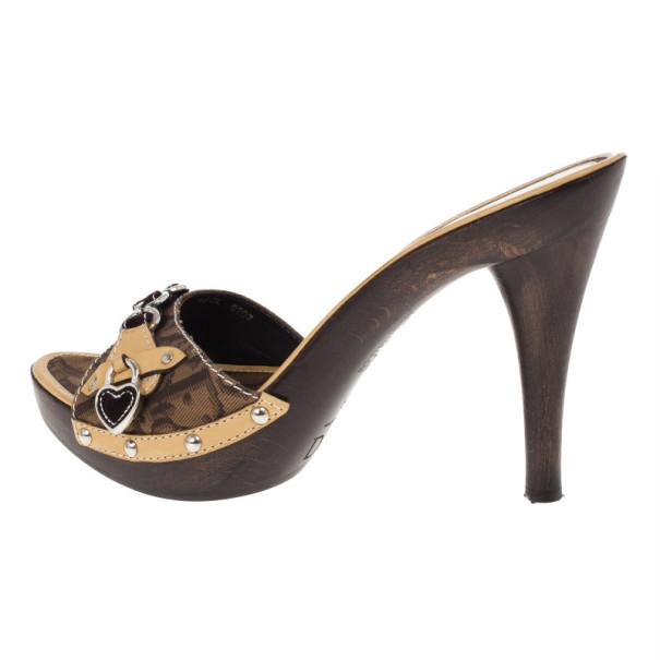 Dior Brown Diorissimo Chain Mules Size 40
