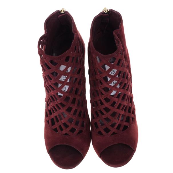 Jimmy Choo Dane Claret Lattice Peep Toe Booties Size 39