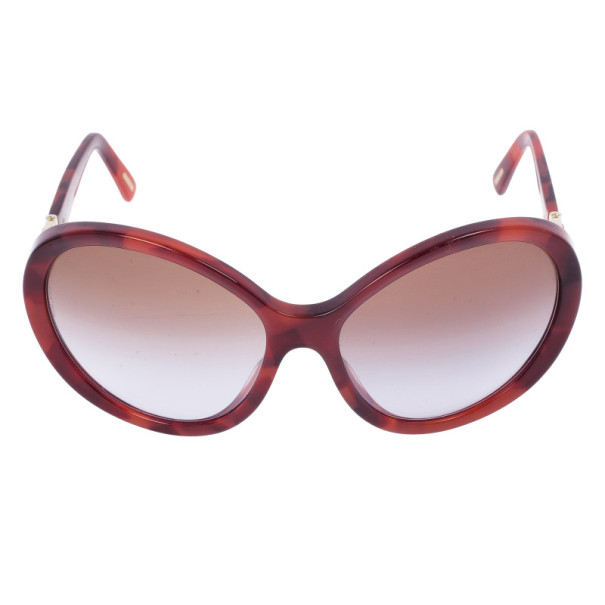 Dolce and Gabbana Maroon Tortoise Frame Oval Sunglasses