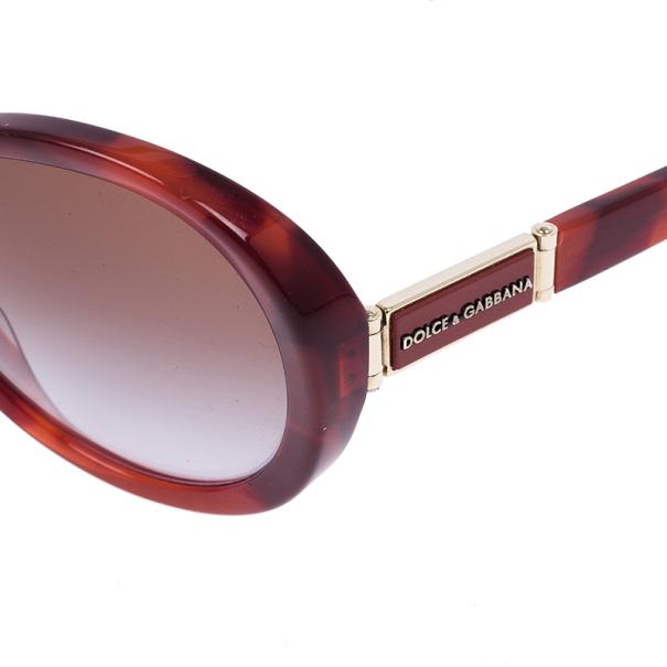 Dolce and Gabbana Maroon Tortoise Frame Oval Sunglasses