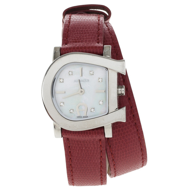 Aigner Mother of Pearl Stainless Steel Genua Duo Women's Wristwatch 26MM