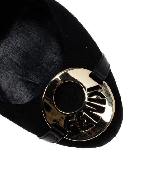 Fendi Black Canvas Logo Plate Wedges Size 37