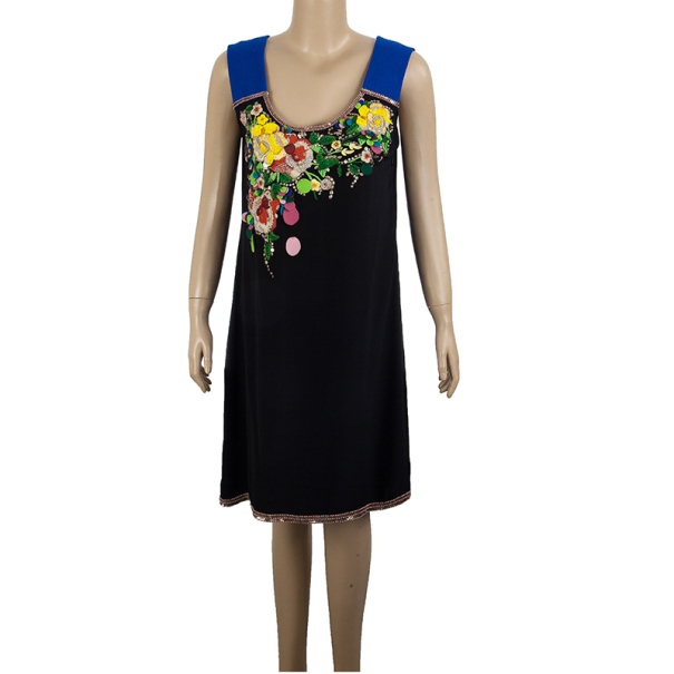 Matthew Williamson Black Floral Embroidered Dress M