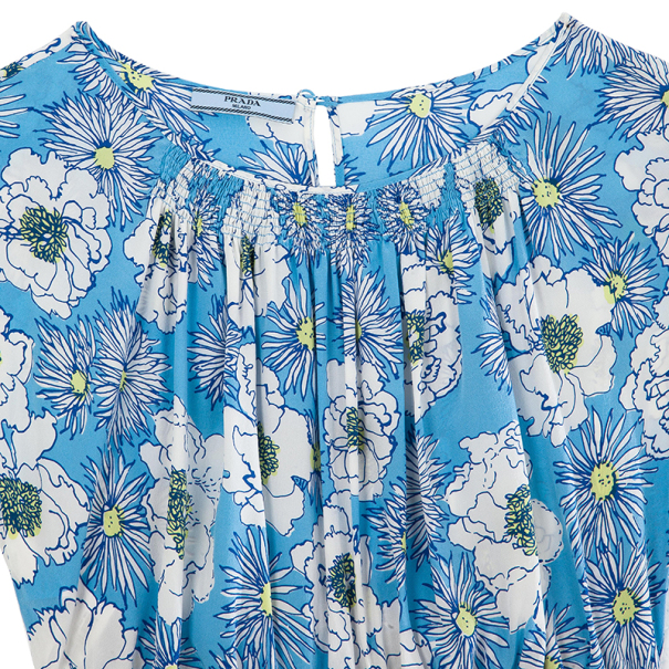 Prada Blue Floral Top M