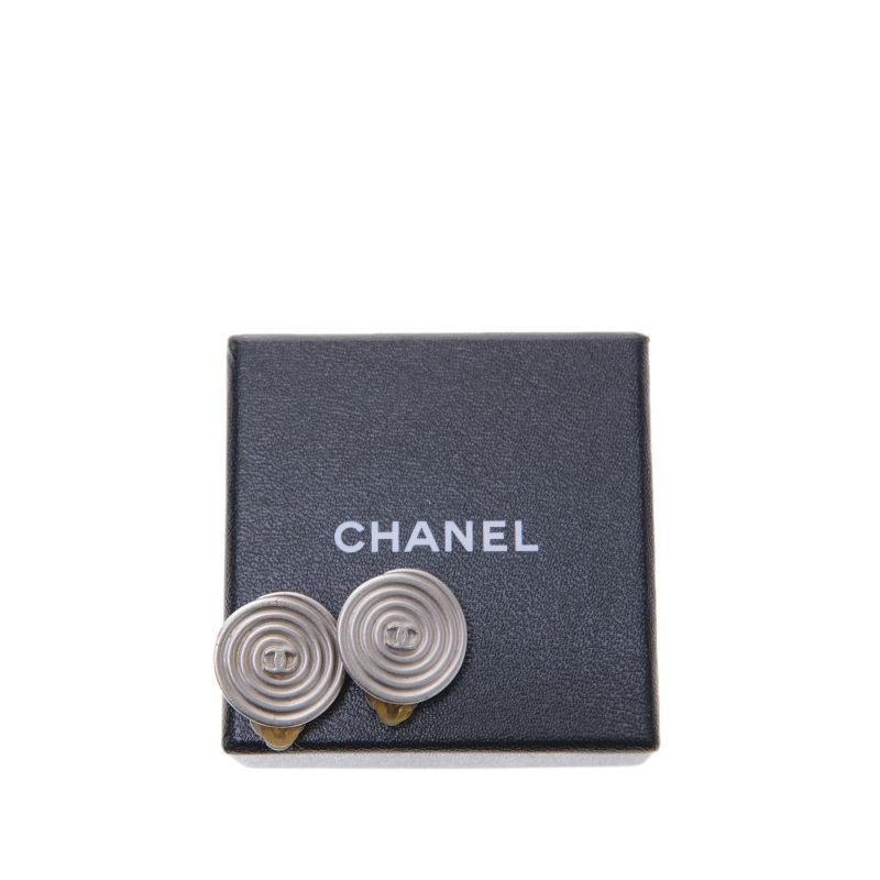 Chanel CC Swirl Silver Clip On Earrings
