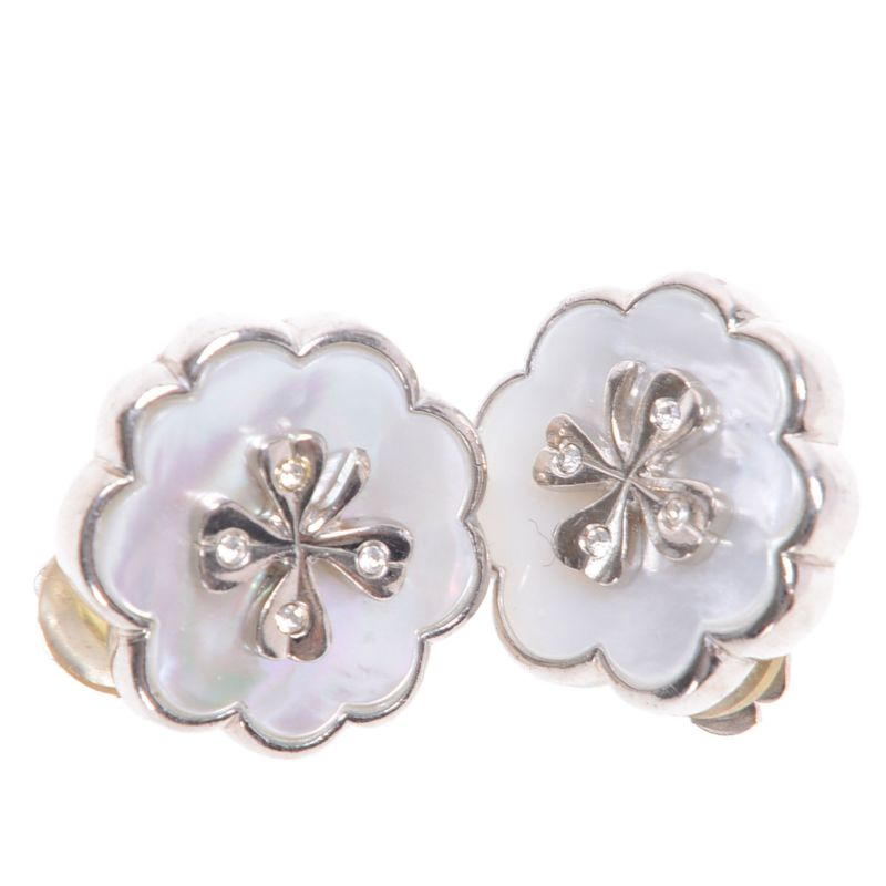 Chanel CC Clover Mother Of Pearl Clip On Earrings