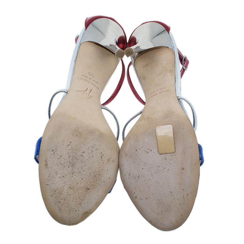 Giuseppe Zanotti Metallic Leather Eiffel Tower Sandals Size 36