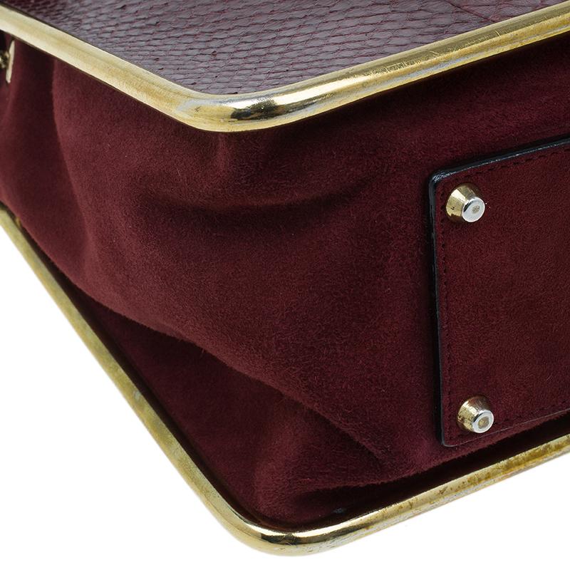 Chloe Burgundy Python Medium Sally Shoulder Bag