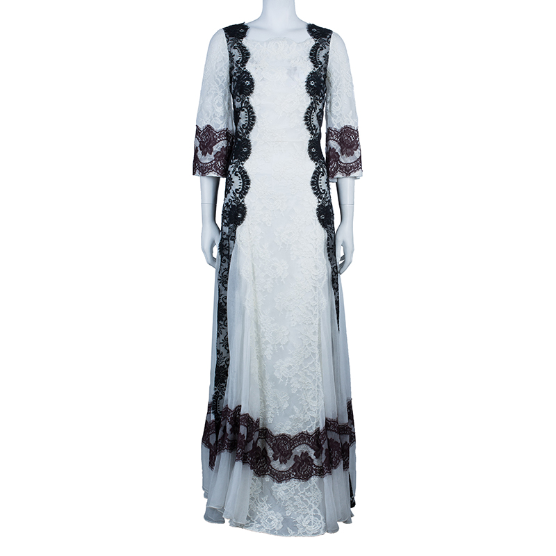 Dolce and Gabbana White Lace Detail Gown M