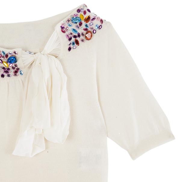 Dior White Embellshed Neckline Top M