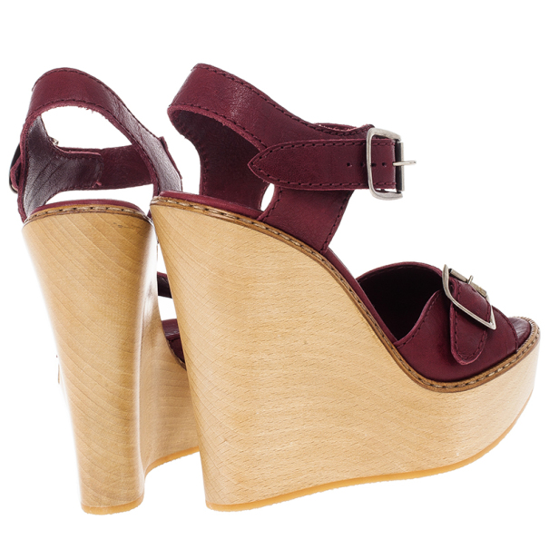 Chloe 60th Anniversary Maroon Leather Wooden Wedge Sandals Size 38.5