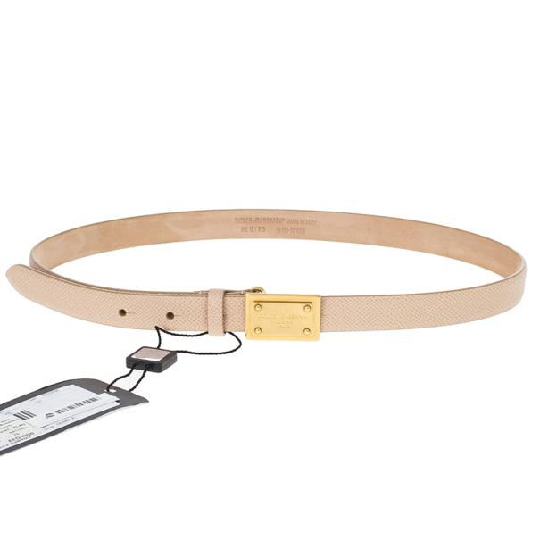 Dolce and Gabbana Beige Leather Plaque Skinny Belt 75 CM