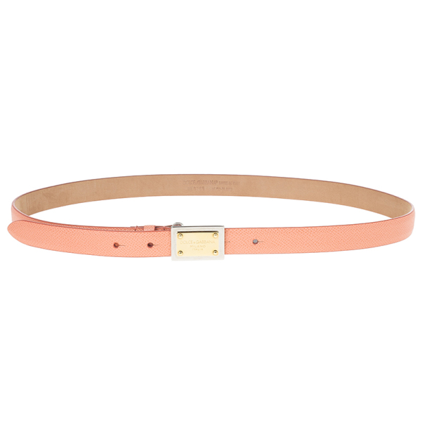 Dolce and Gabbana Pink Leather Plaque Skinny Belt 85 CM