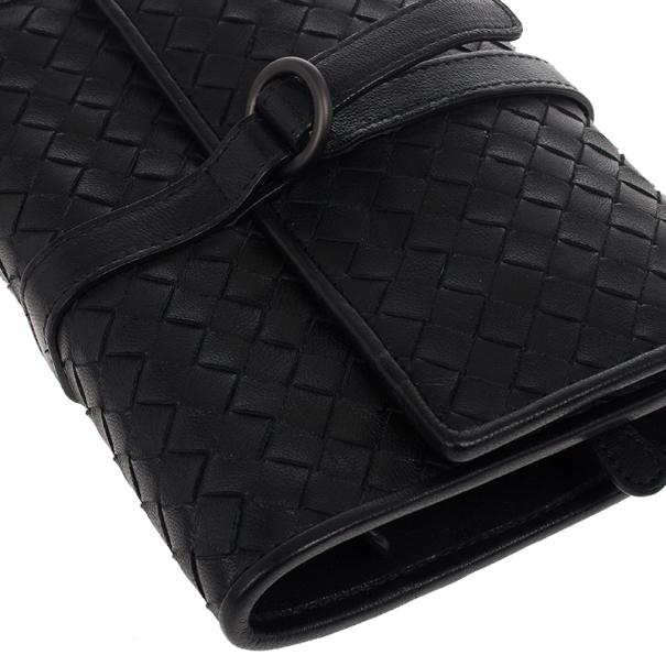 Bottega Veneta Black Intrecciato Leather Jewelry Roll