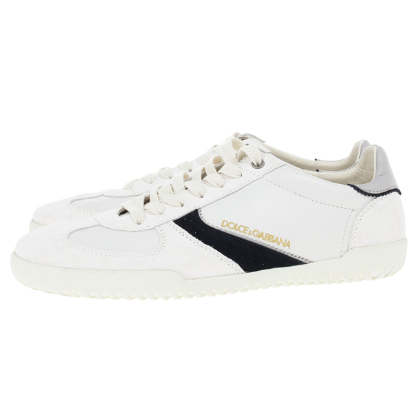Dolce and Gabbana White Suede and Leather Sneakers Size 42.5