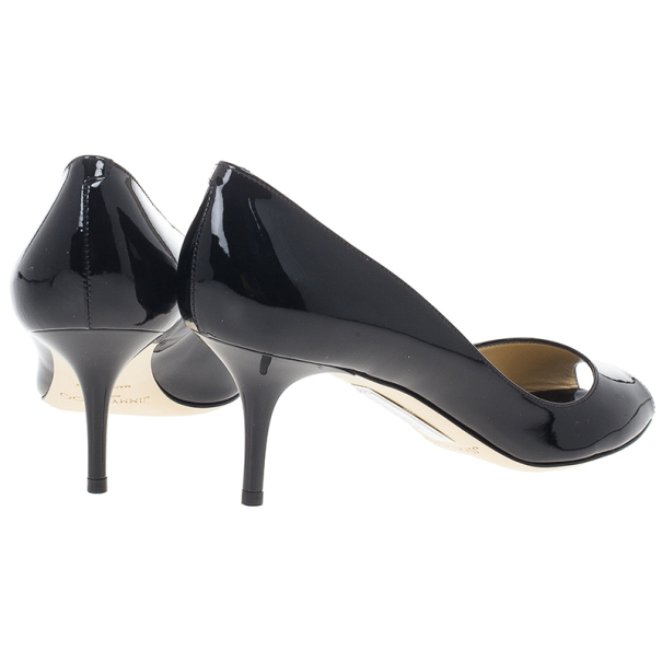 Jimmy Choo Black Patent Isabel Peep Toe Pumps Size 37