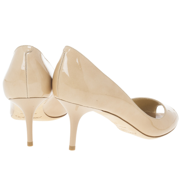 Jimmy Choo Nude Patent Isabel Peep Toe Pumps Size 37