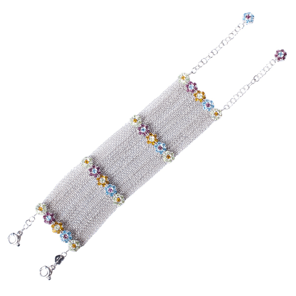 Pasquale Bruni Colored Semi-Precious Stones Flower Multichain Bracelet
