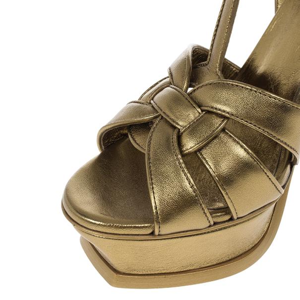 Saint Laurent Paris Gold Leather Tribute Platform Sandals Size 37