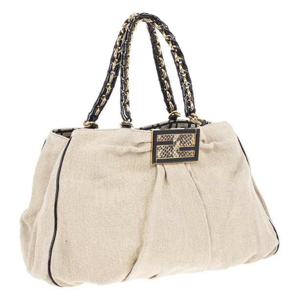 Fendi Beige Corda Canvas Mia Chain Handle Bag