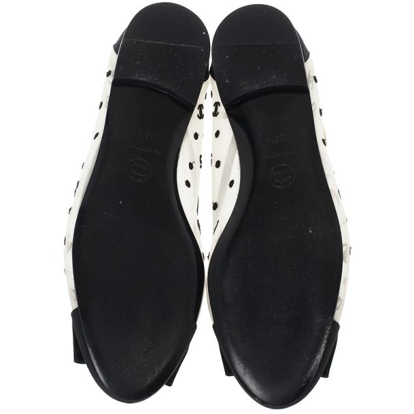 Chanel CC Mesh Bow Ballet Flats Size 38.5