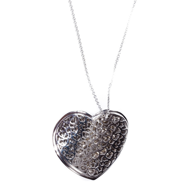Pasquale Bruni Diamond Pave Setting Heart White Gold Pendant Necklace