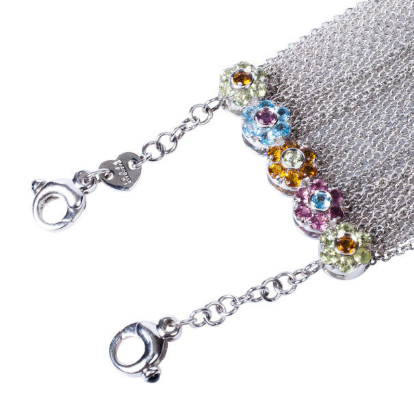 Pasquale Bruni Colored Semi-Precious Stones Flower Multichain Choker Necklace