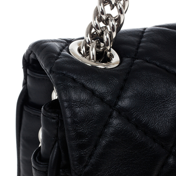 Chanel Black Leather Quilted Medium Flap Bag