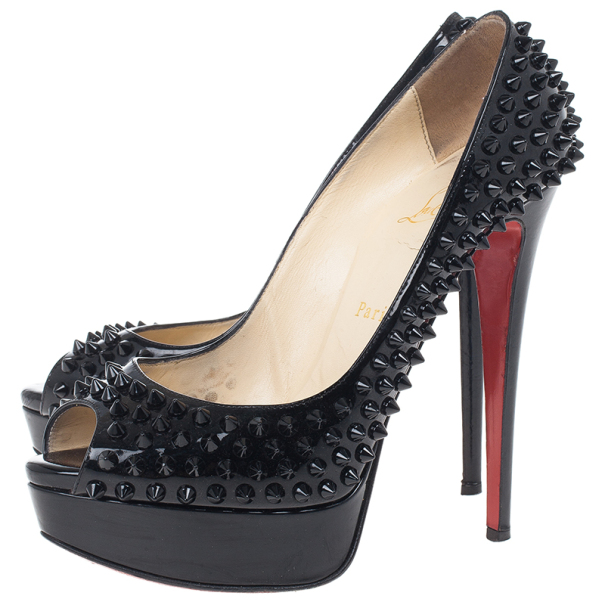 Christian Louboutin Black Patent Lady Peep Toe Spikes Platform Pumps Size 38.5