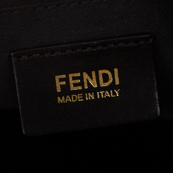 Fendi Brown Pequin Hobo Bag