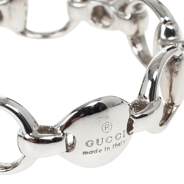 Gucci Horsebit Diamond White Gold Ring Size 54