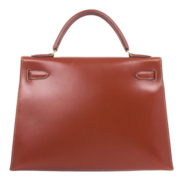 Hermes Fauve Tadelakt Red Leather Kelly 32
