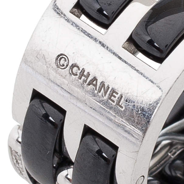 Chanel Ultra Diamond and Black Ceramic Ring Size 54