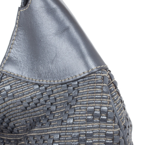 Fendi Silver Leather Woven Hobo