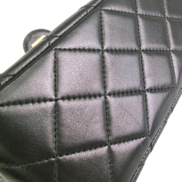 Chanel Vintage Black Lambskin Single Flap Bag Small