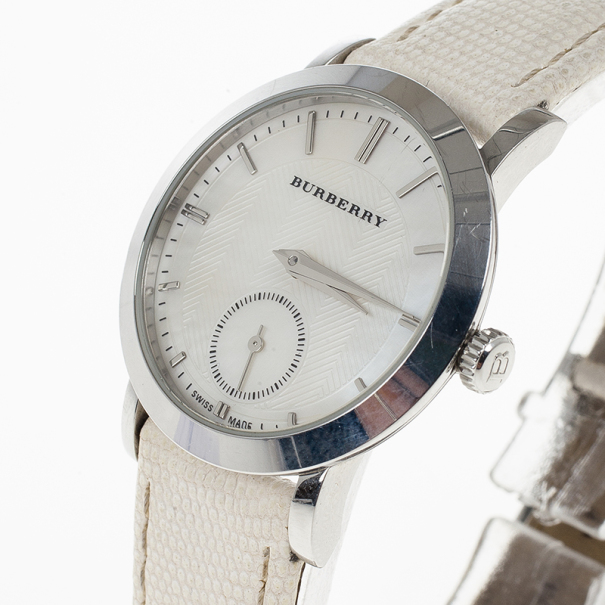 Burberry White Stainless Steel BU1733 Women's Wristwatch 30MM