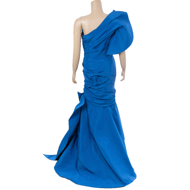 Monique Lhuillier One Shoulder Silk Gown S