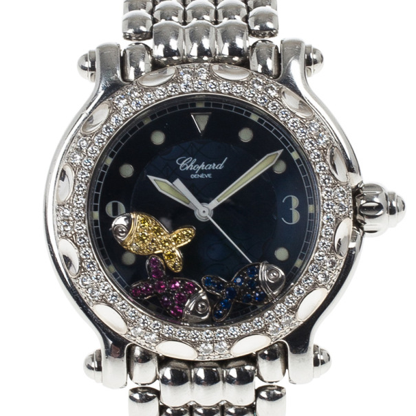 Chopard Navy Gold & Steel Happy Sport Fish Women's Wristwatch 38MM