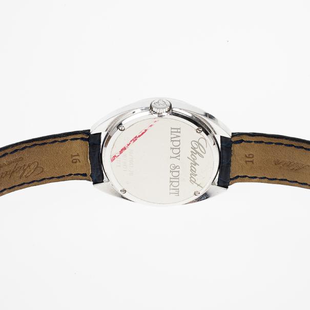 Chopard Silver White Gold Happy Spirit Women's Wristwatch 32MM