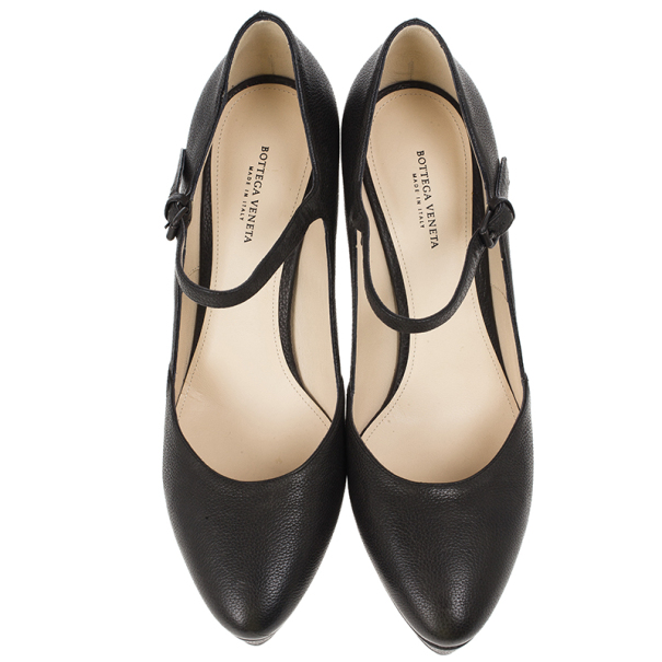 Bottega Veneta Black Leather Mary Jane Platform Pumps Size 38.5